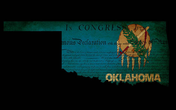 Map Print featuring the photograph Usa American Oklahoma State Map Outline With Grunge Effect Flag by Matthew Gibson