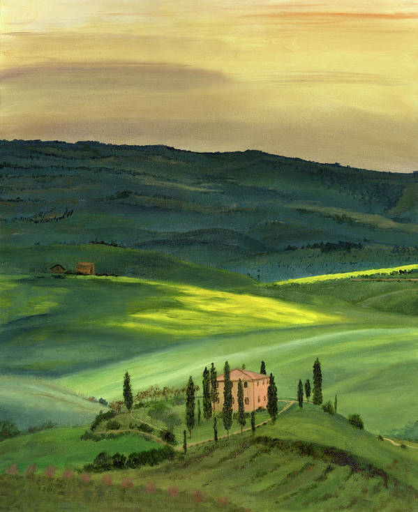 Tuscany Italy Italian Landscape Original Oil On Canvasval D'orcia Tuscany Print featuring the painting Val D II by Cecilia Brendel