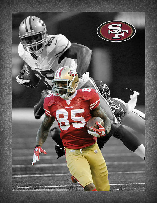 Vernon Davis Print featuring the photograph Vernon Davis 49ers by Joe Hamilton