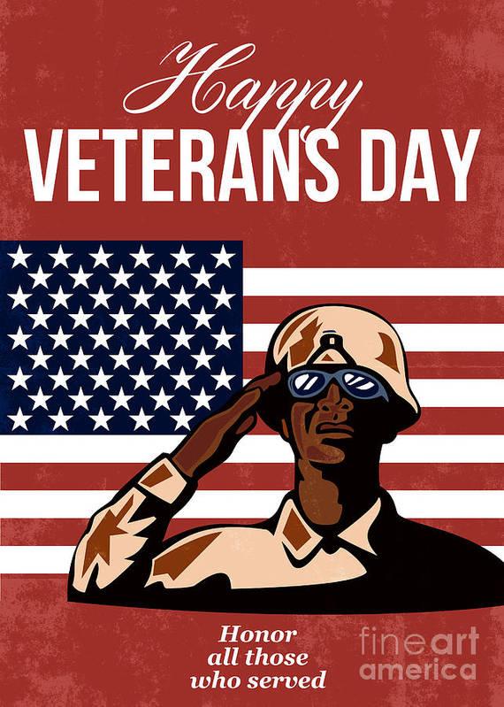 Veteran Print featuring the digital art Veterans Day Greeting Card American by Aloysius Patrimonio