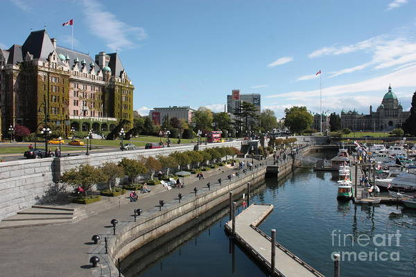 Victoria Print featuring the photograph Victoria Harbour With Empress Hotel by Carol Groenen