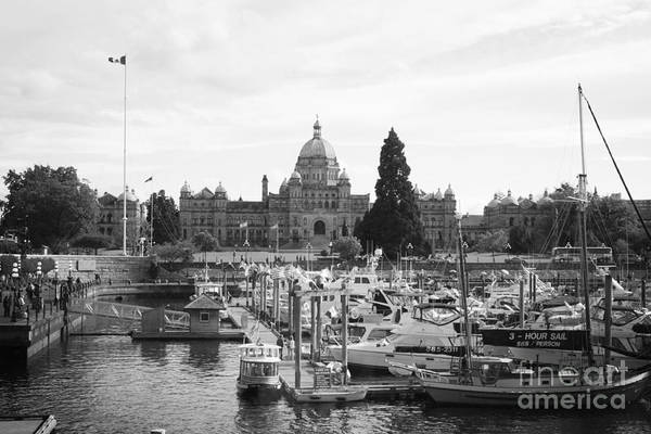 Canada Print featuring the photograph Victoria Harbour With Parliament Buildings - Black And White by Carol Groenen