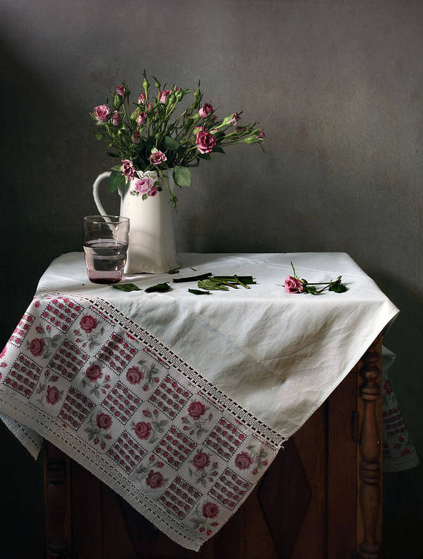 Fine Art Photograph Print featuring the photograph Victorian Style Still Life With Pink Roses by Helen Tatulyan
