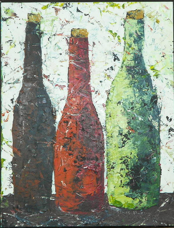 Wine Bottles Print featuring the painting Vino 2 by Phiddy Webb