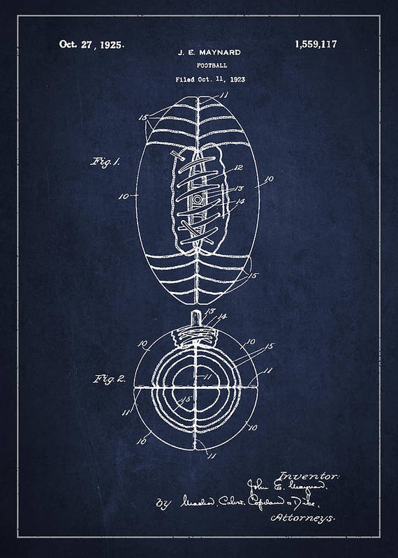 Football Print featuring the drawing Vintage Football Patent Drawing From 1923 by Aged Pixel
