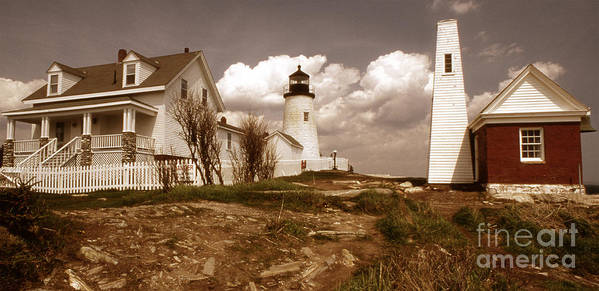 Lighthouses Print featuring the photograph Vintage Pemaquid Point Lighthose by Skip Willits