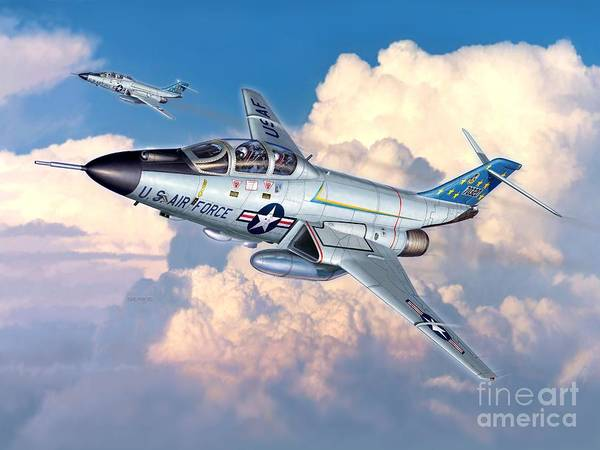 F-101 Print featuring the digital art Voodoo In The Clouds - F-101b Voodoo by Stu Shepherd