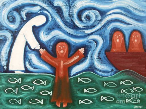 Easter Print featuring the painting Walking On Water 2 by Patrick J Murphy