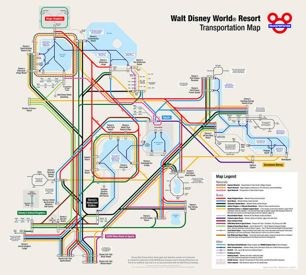 Walt Disney World Print featuring the digital art Walt Disney World Resort Transportation Map by Arthur De Wolf
