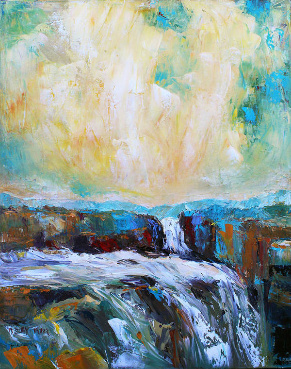 Landscape. Oil Print featuring the painting Waterfalls 2 by Becky Kim