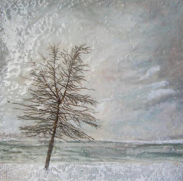 Winter Tree Print featuring the painting When Grey Matters by Victoria Primicias