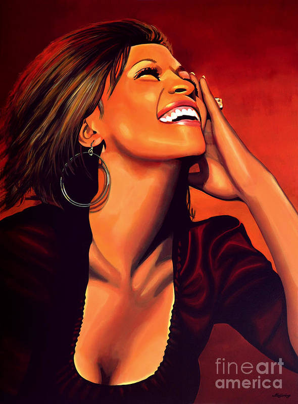 Whitney Houston Print featuring the painting Whitney Houston by Paul Meijering