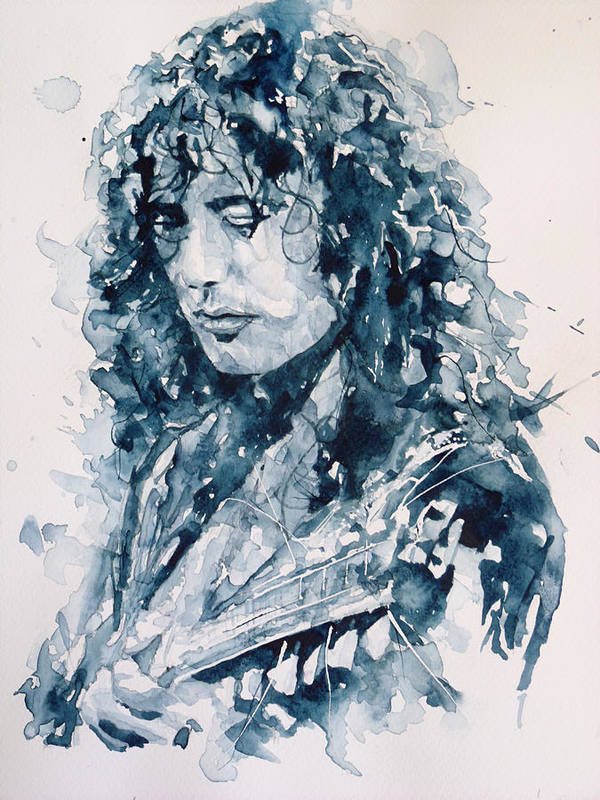 Led Zeppelin Print featuring the painting Whole Lotta Love Jimmy Page by Paul Lovering