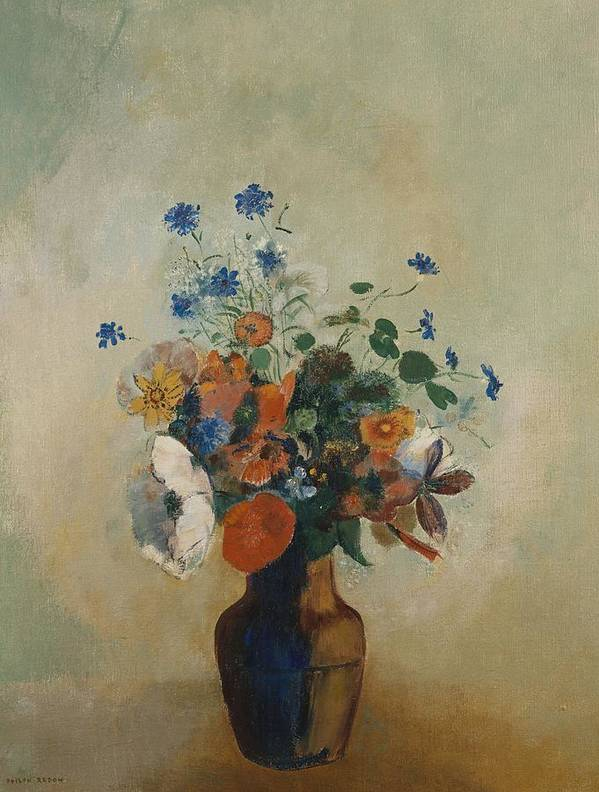 Still Life; Flower; Vase; Arrangement; Redon Print featuring the painting Wild Flowers by Odilon Redon
