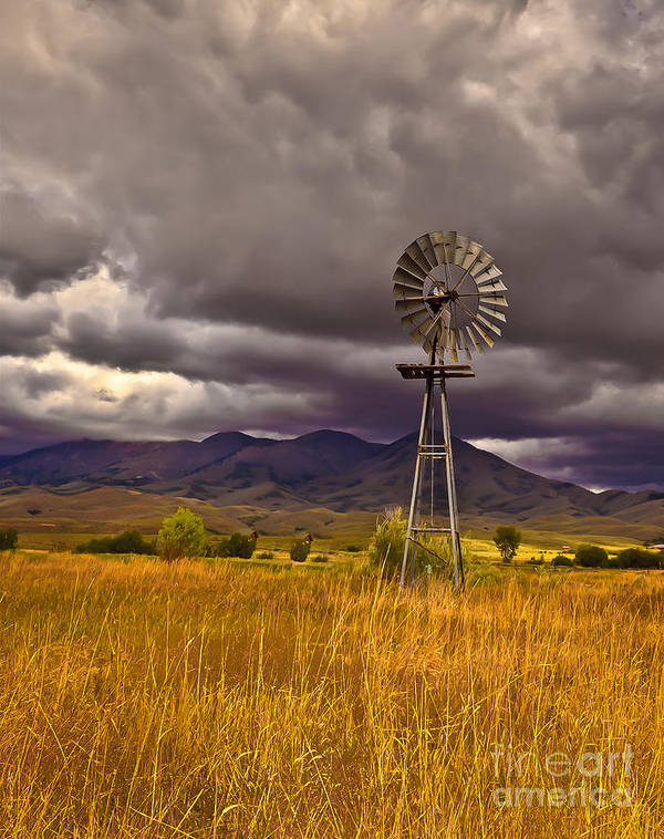Solider Mountains Print featuring the photograph Windmill by Robert Bales