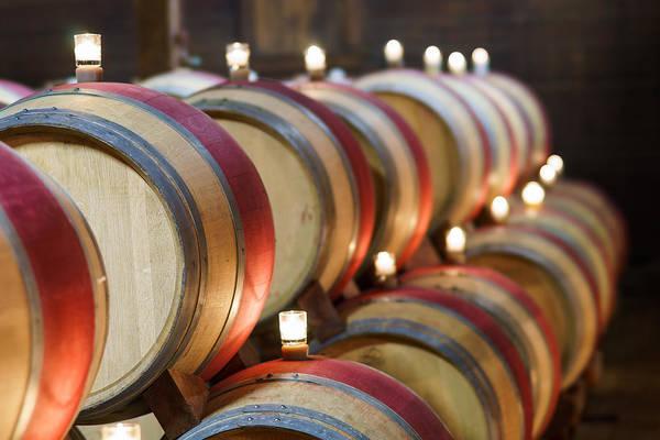 California Print featuring the pastel Wine Barrels by Francesco Emanuele Carucci