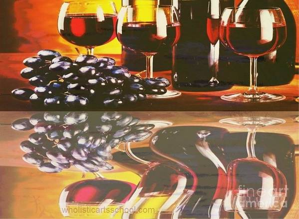 Wine Print featuring the painting Wine Reflections by PainterArtist FIN
