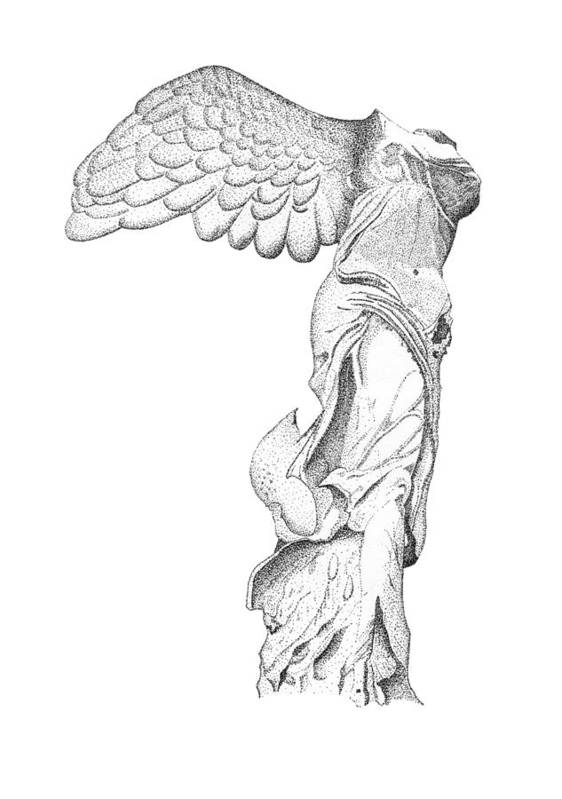 Winged Victory Of Samothrace Print featuring the drawing Winged Victory Of Samothrace by Steven Tomadakis