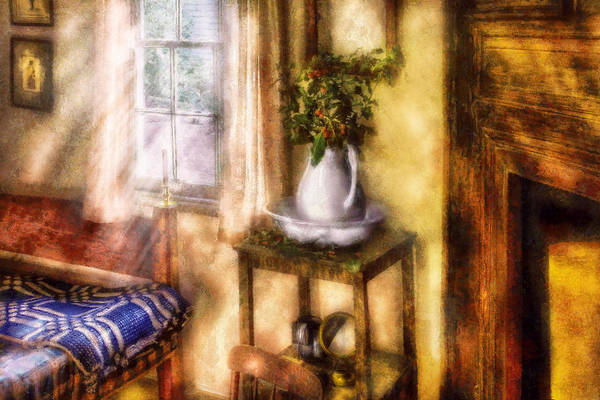 Savad Print featuring the digital art Winter - Christmas - Early Christmas Morning by Mike Savad