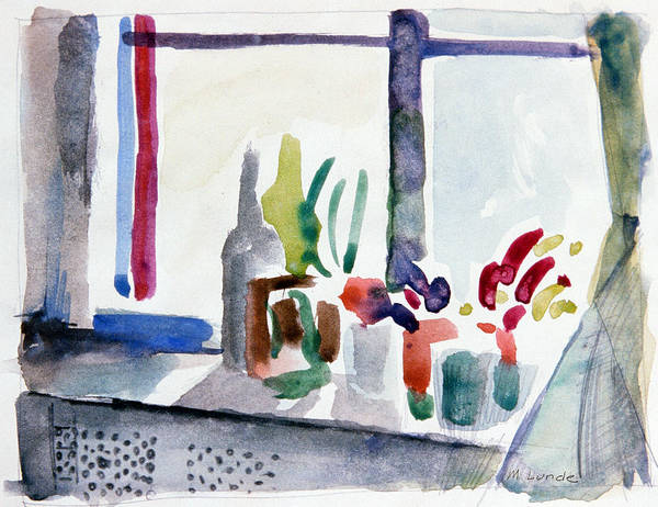 Watercolor Print featuring the painting Winter Garden Nyc by Mark Lunde