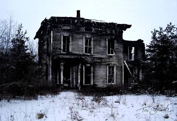 Haunted House Print featuring the photograph Winter Home by Tom Straub