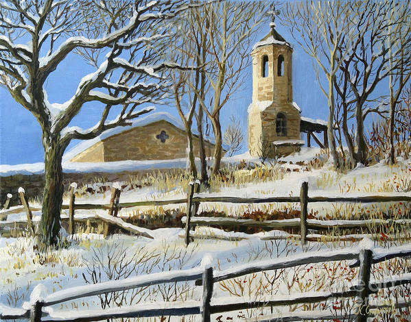 Architecture Print featuring the painting Winter In Stoykite by Kiril Stanchev