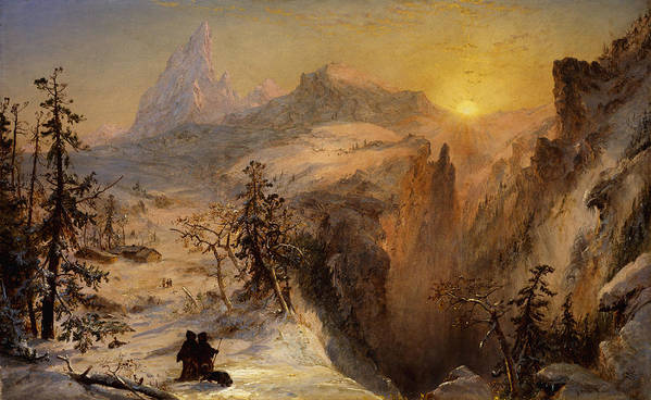 1860s Print featuring the painting Winter In Switzerland by Jasper Francis Cropsey