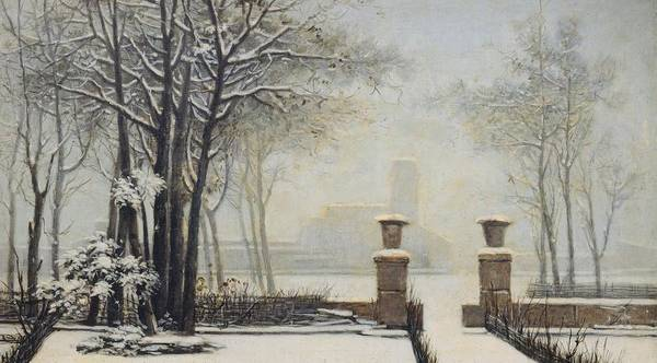 Winter Print featuring the painting Winter Landscape by Alessandro Guardassoni