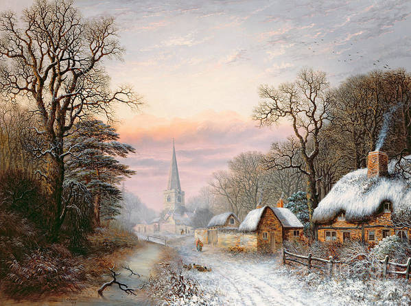 Rural Print featuring the painting Winter Landscape by Charles Leaver
