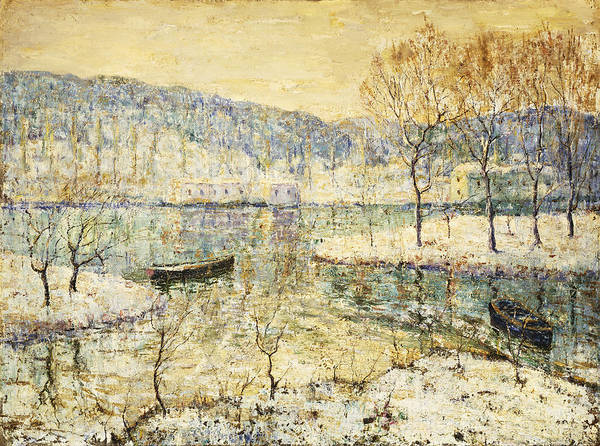 American Print featuring the painting Winter Stream by Ernest Lawson