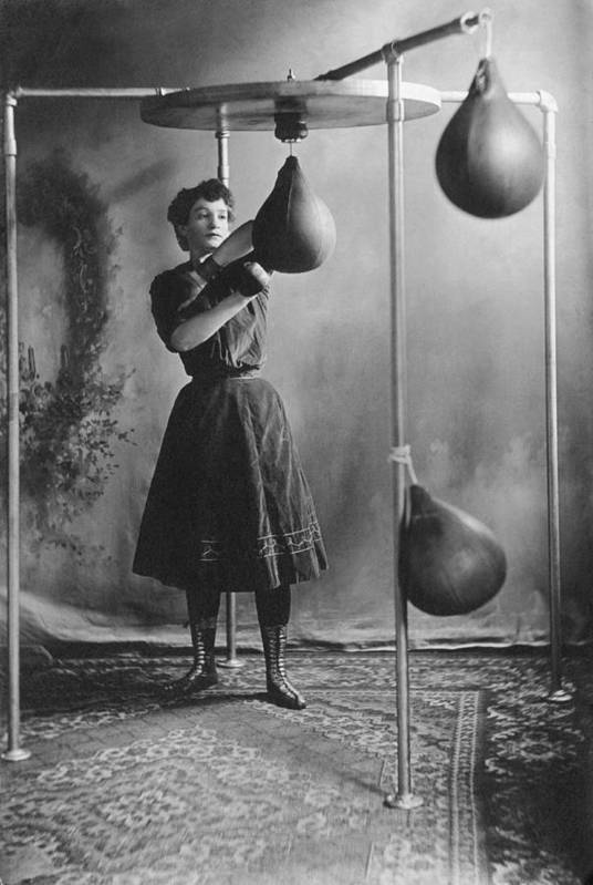 1890 Print featuring the photograph Woman Boxing Workout by Underwood Archives