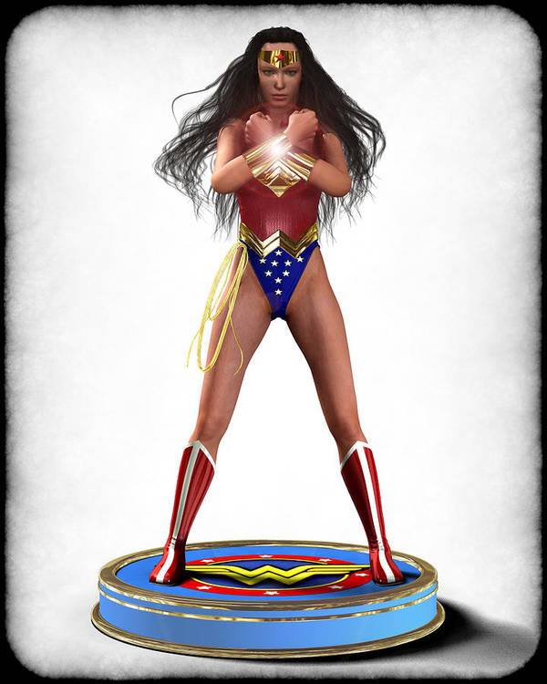 Woman Print featuring the digital art Wonder Woman V2 by Frederico Borges