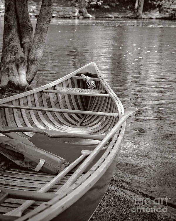 Canoe Print featuring the photograph Wooden Canoe by Edward Fielding