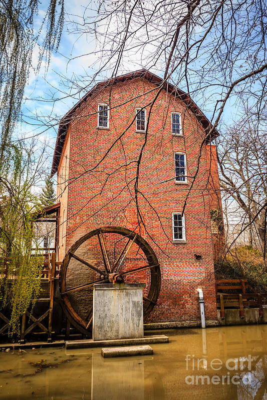 1800's Print featuring the photograph Wood's Grist Mill In Northwest Indiana by Paul Velgos