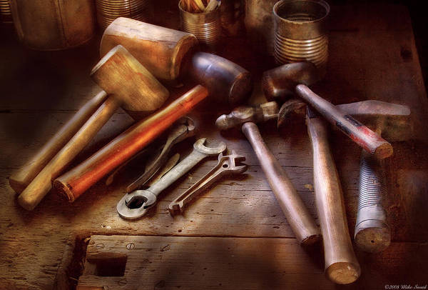 Savad Print featuring the photograph Woodworker - A Collection Of Hammers by Mike Savad