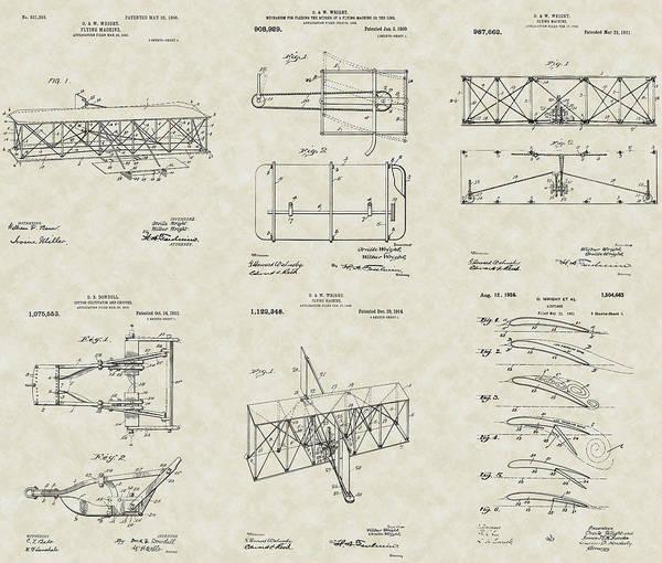 Orville Wright Print featuring the drawing Wright Brothers Aircraft Patent Collection by PatentsAsArt