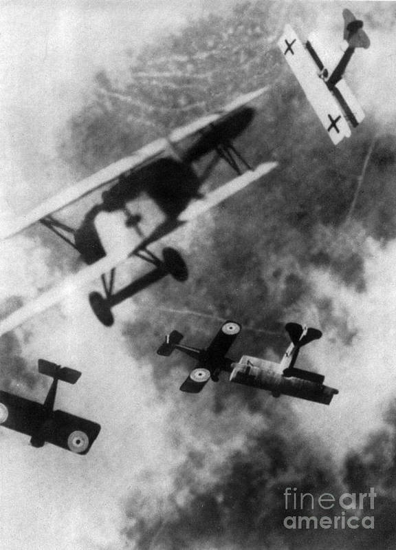 Technology Print featuring the photograph Wwi German British Dogfight by Nypl