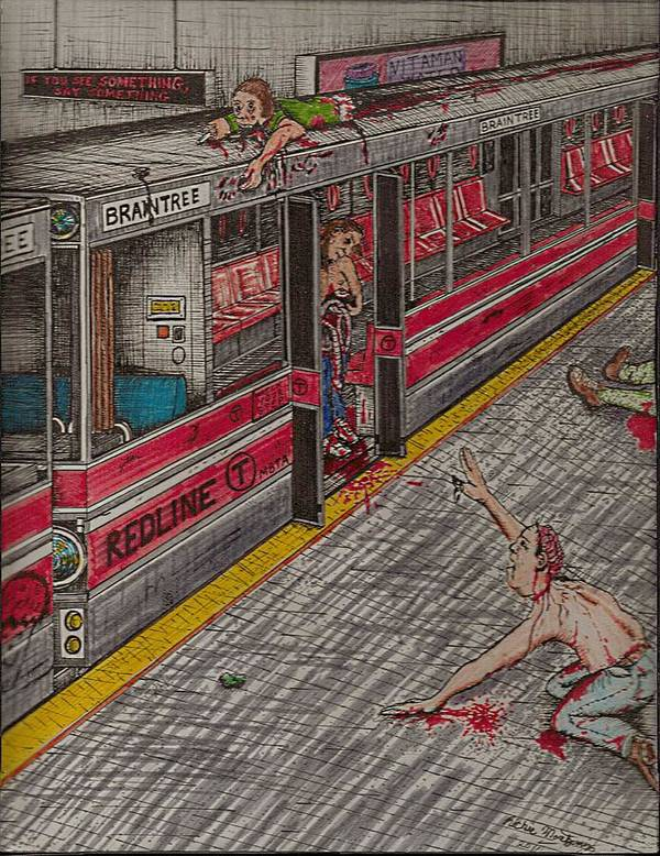 Subway Print featuring the painting Zombies On The Red Line by Richie Montgomery