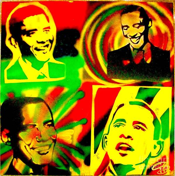 Barack Obama Print featuring the painting 4 Rasta Obama by Tony B Conscious