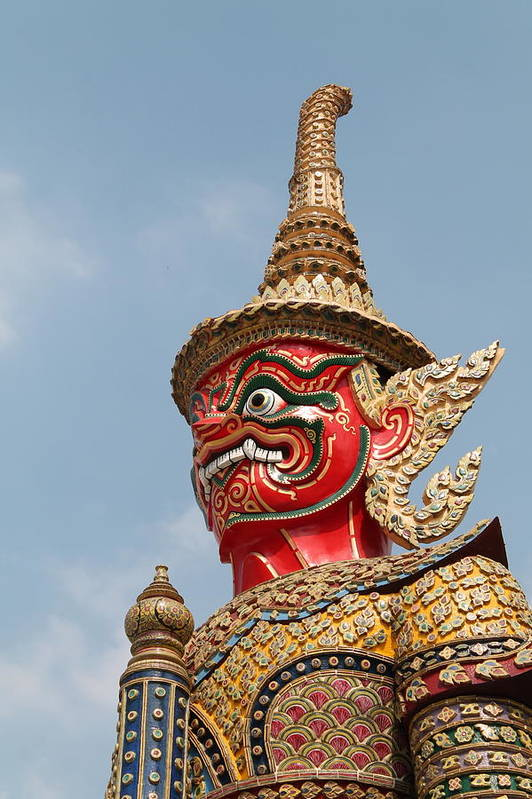 Abstract Print featuring the sculpture Demon Guardian Statues At Wat Phra Kaew by Panyanon Hankhampa