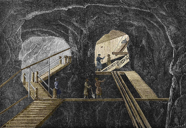 Staircase Print featuring the photograph 19th-century Mining by Sheila Terry