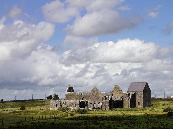 Cloud Print featuring the photograph Abbeyknockmoy, Cistercian Abbey Of by The Irish Image Collection