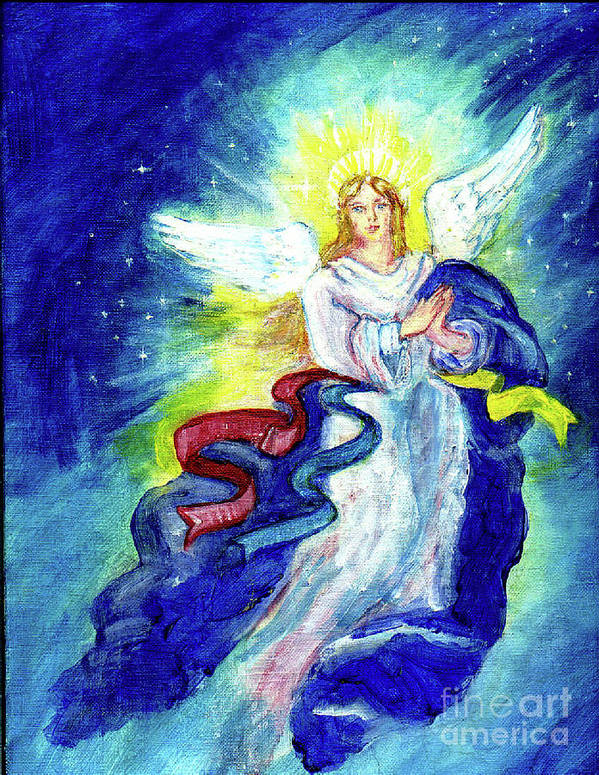 Angel Print featuring the painting Angel Of Joy by Doris Blessington