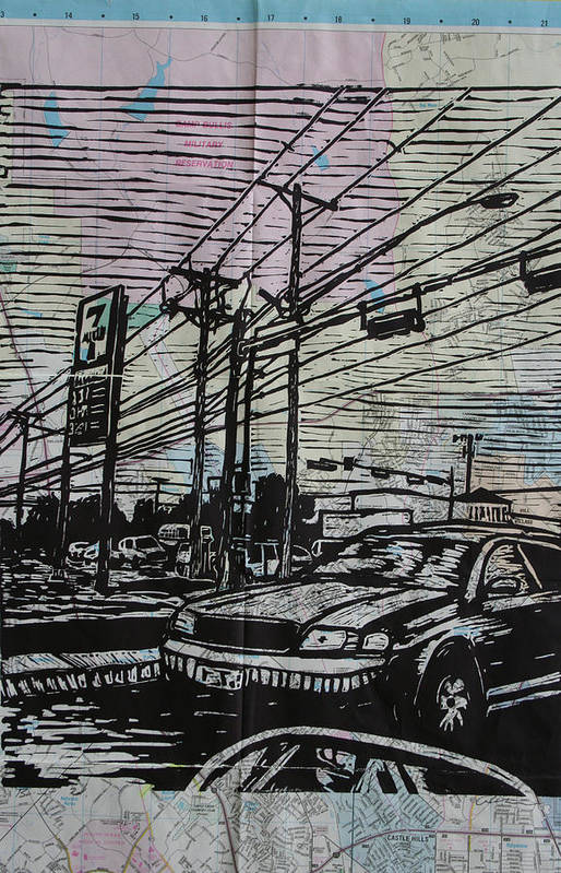 Lino Print featuring the drawing Burnet Road by William Cauthern