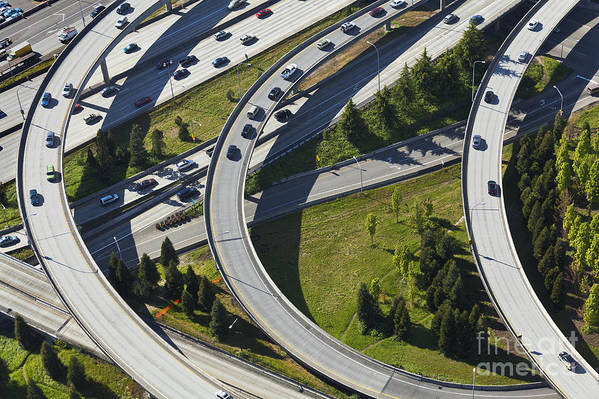 Aerial Print featuring the photograph Busy Freeway Interchange by Don Mason