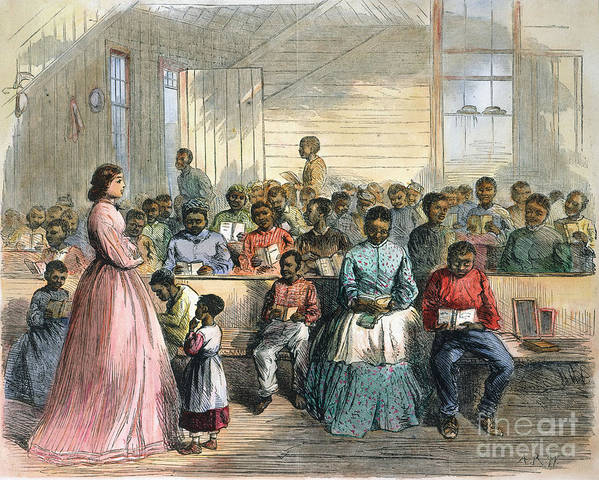 1866 Print featuring the photograph Freedmens School, 1866 by Granger