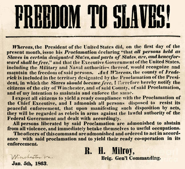 Abolition Print featuring the photograph Freedom To Slaves by Photo Researchers, Inc.