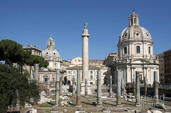 Worth Print featuring the photograph Imperial Fora With The Trajan's Column And The Church Santissimo Nome Di Maria. Rome by Bernard Jaubert