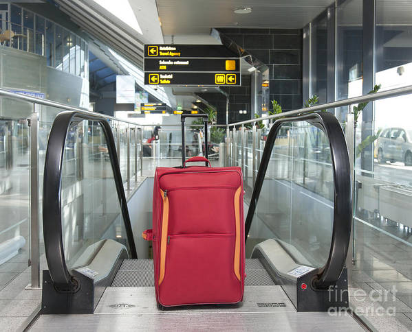 Abandoned Print featuring the photograph Luggage At The Top Of An Escalator by Jaak Nilson