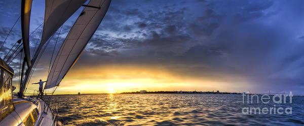 Sailing Sunset Charleston Sc Print featuring the photograph Sailing Sunset Charleston Sc by Dustin K Ryan